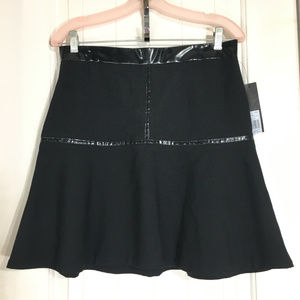 Marc by Marc Jacobs Black Wool Patent A Line Skirt